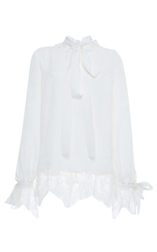 Medium francesco scognamiglio white long sleeve blouse with lace accents