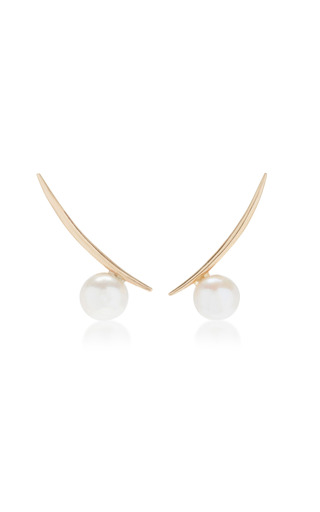 Medium white space gold 14k gold pearl earrings 2