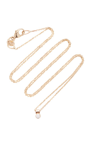 Medium white space gold solo 14k gold diamond necklace