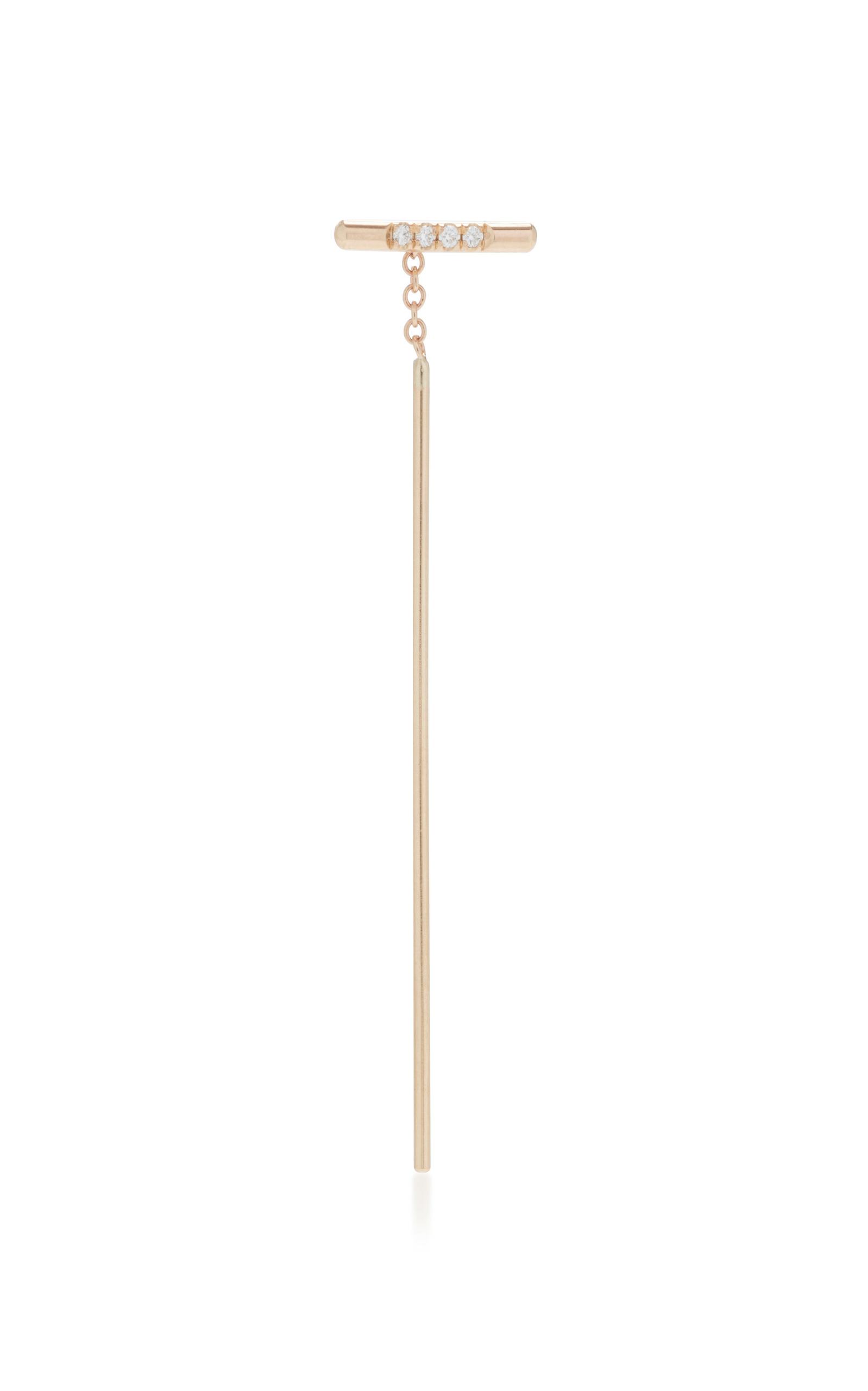 WHITE/SPACE | White/Space Linea 14K Gold Diamond Single Earring | Goxip