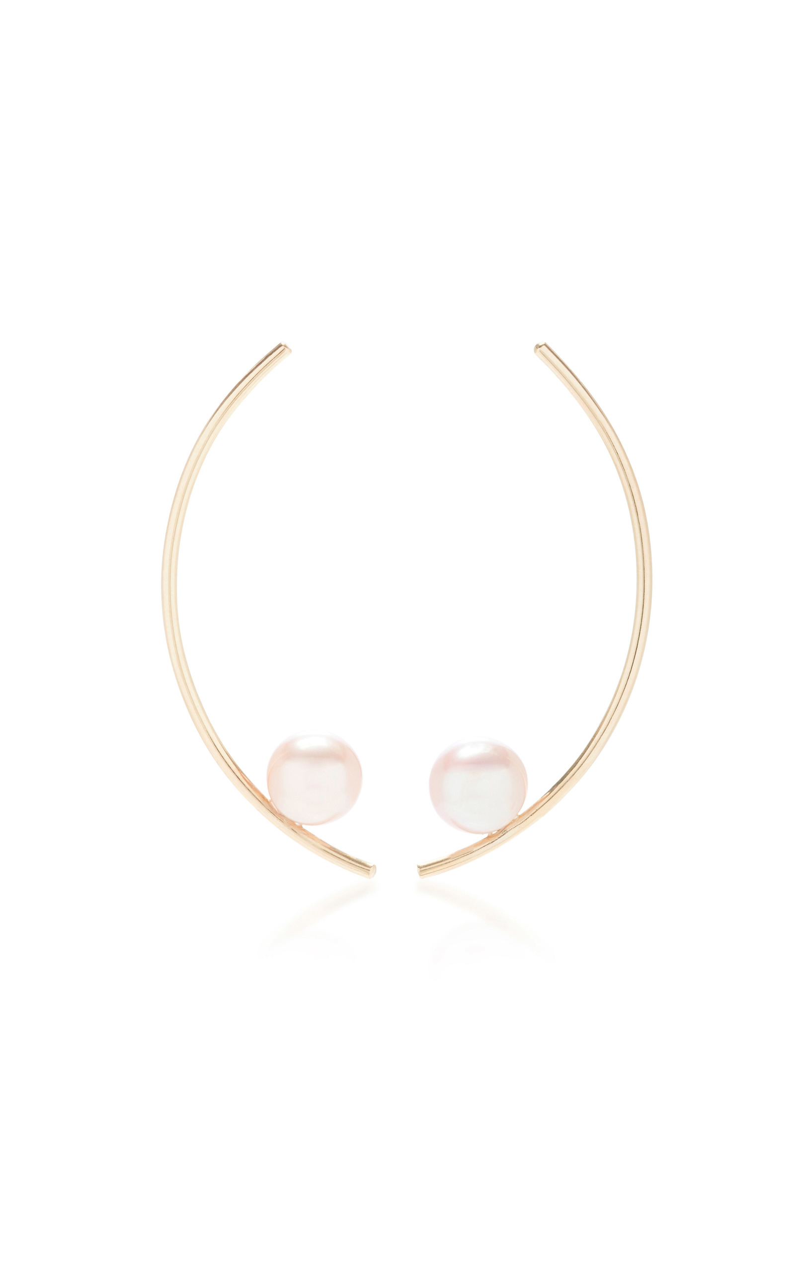 WHITE/SPACE TREVISO 14K GOLD PEARL EARRINGS