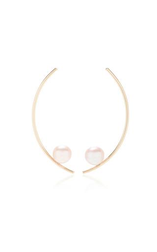 Medium white space gold treviso 14k gold pearl earrings