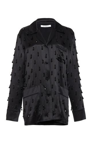 Medium givenchy black beaded embroidered silk satin top