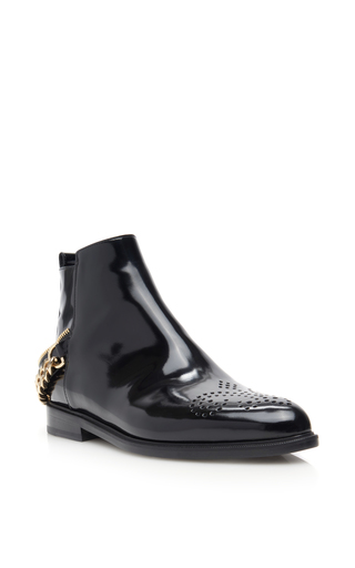 Medium lanvin black leather flat boots with chain