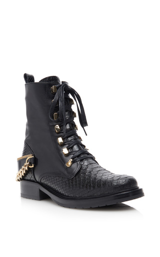 Medium lanvin black python and kangaroo leather lace up boots with chain