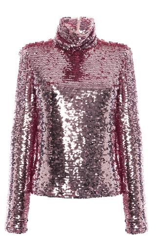Medium msgm pink sequin turtleneck top