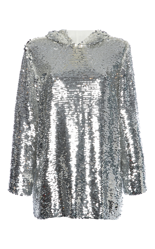 Medium msgm silver hooded sequin top