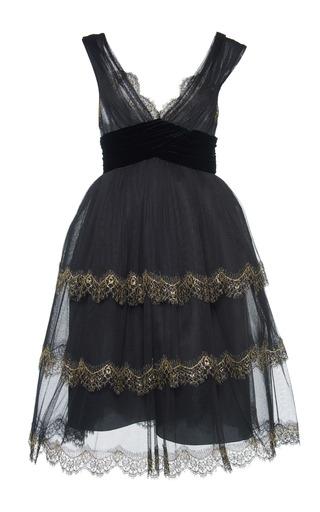 Medium alberta ferretti black silk tulle lace trim dress