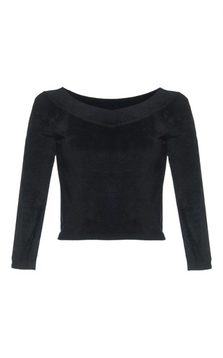 Medium alberta ferretti black stretch chenille knit top