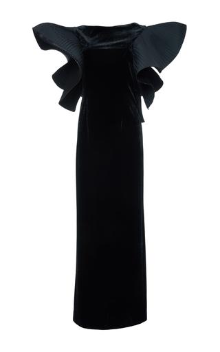 Medium alberta ferretti black silk velvet flounced ruffle gown