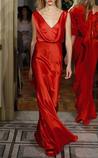 Medium alberta ferretti red draped silk satin gown