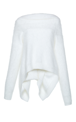 Medium alberta ferretti white angora cardigan