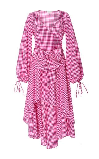 Medium caroline constas pink lena check print asymmetric dress