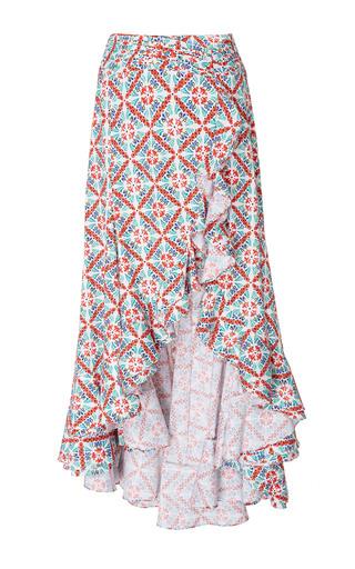Medium caroline constas print giovanna printed cascading ruffle skirt