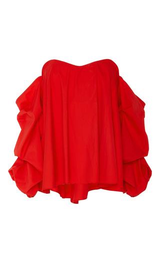 Medium caroline constas red gabriella long sleeve off the shoulder top