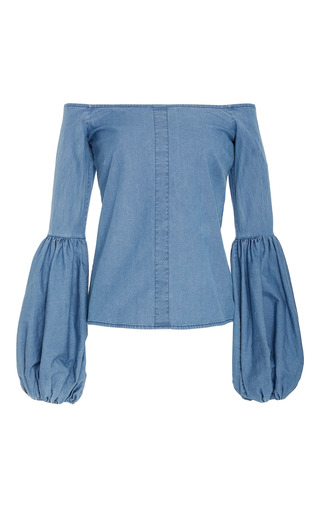 Medium caroline constas blue gisele dropped peasant style long sleeve blouse