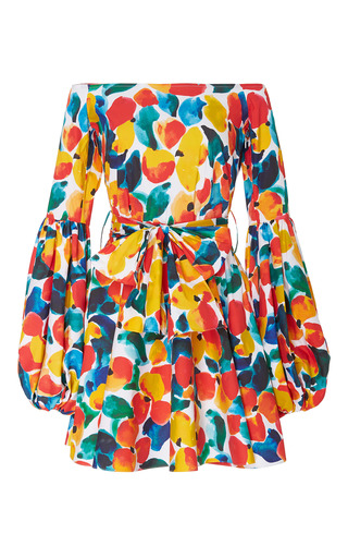 Medium caroline constas print gisele scoop neck mini dress