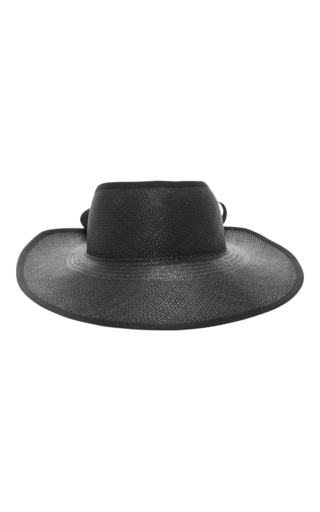 Medium sensi studio black long brim visera toquilla straw visor