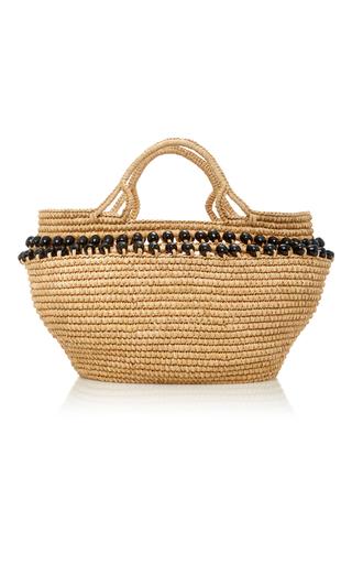 Medium sensi studio neutral bead embellished toquilla straw tote