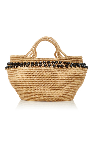 Medium sensi studio neutral bead embellished toquilla straw tote