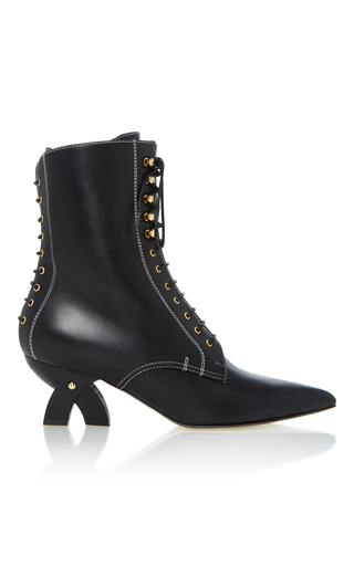 Medium loewe black lace up leather ankle boots
