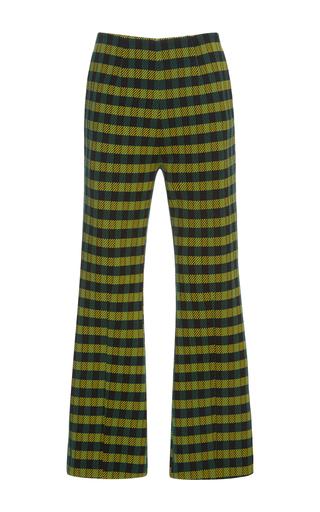 Medium marni green flared checkered trousers 2