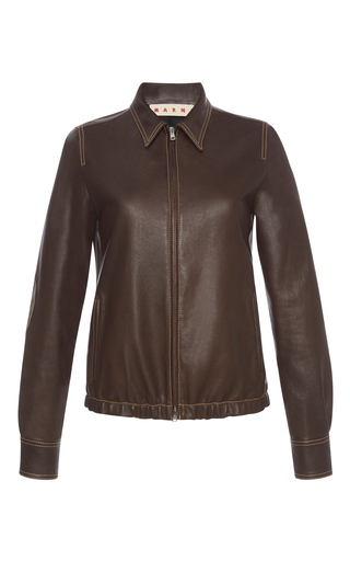 Medium marni brown fitted leather jacket 2