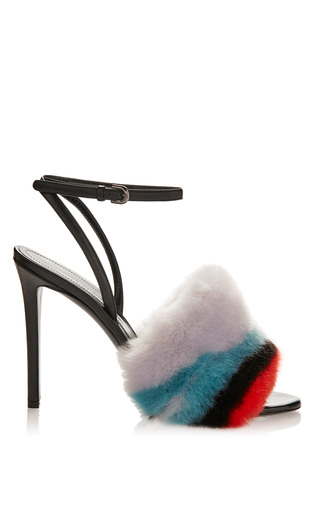 Medium marco de vincenzo multi striped faux fur sandal