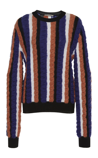 Medium marco de vincenzo stripe cable knit crewneck pullover