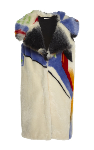 Medium marco de vincenzo multi ship faux fur gilet