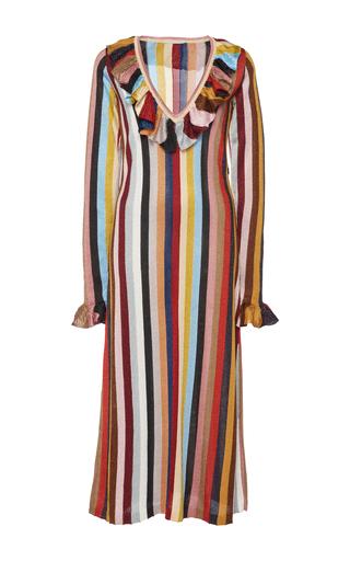 Medium marco de vincenzo stripe ruffled striped dress