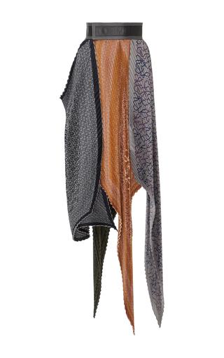 Medium loewe orange asymmetric plisse silk skirt
