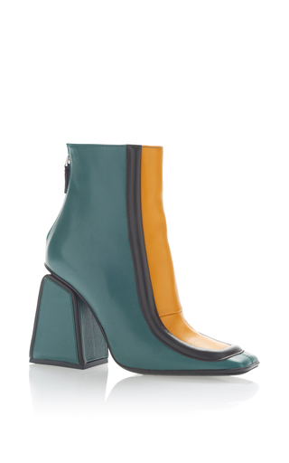 Medium marni green leather ankle boot