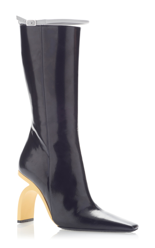 Medium marni black brushed leather boot