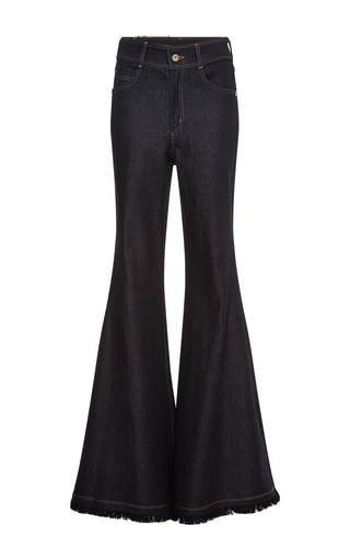 Medium maria lucia hohan blue ross flared fringe trim pants