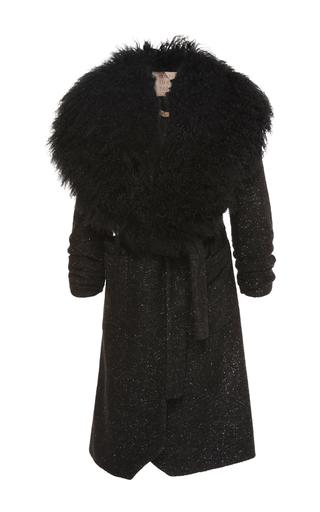 Medium maria lucia hohan black ramya shearling collar coat