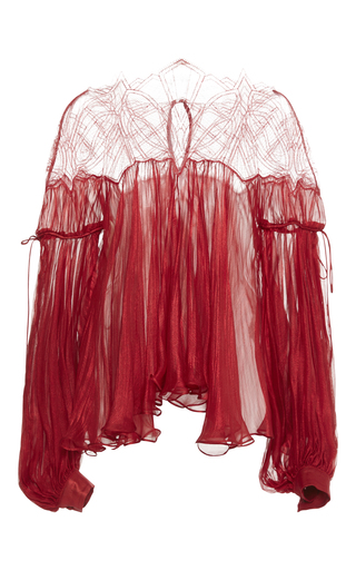 Medium maria lucia hohan red dilana chiffon blouse