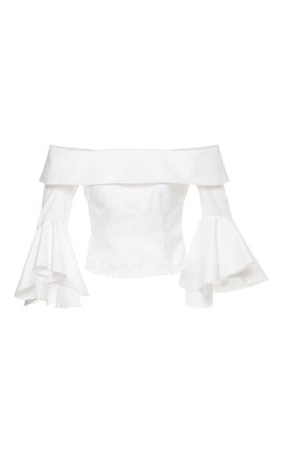 Medium maria lucia hohan white eavan ruffled off the shoulder blouse