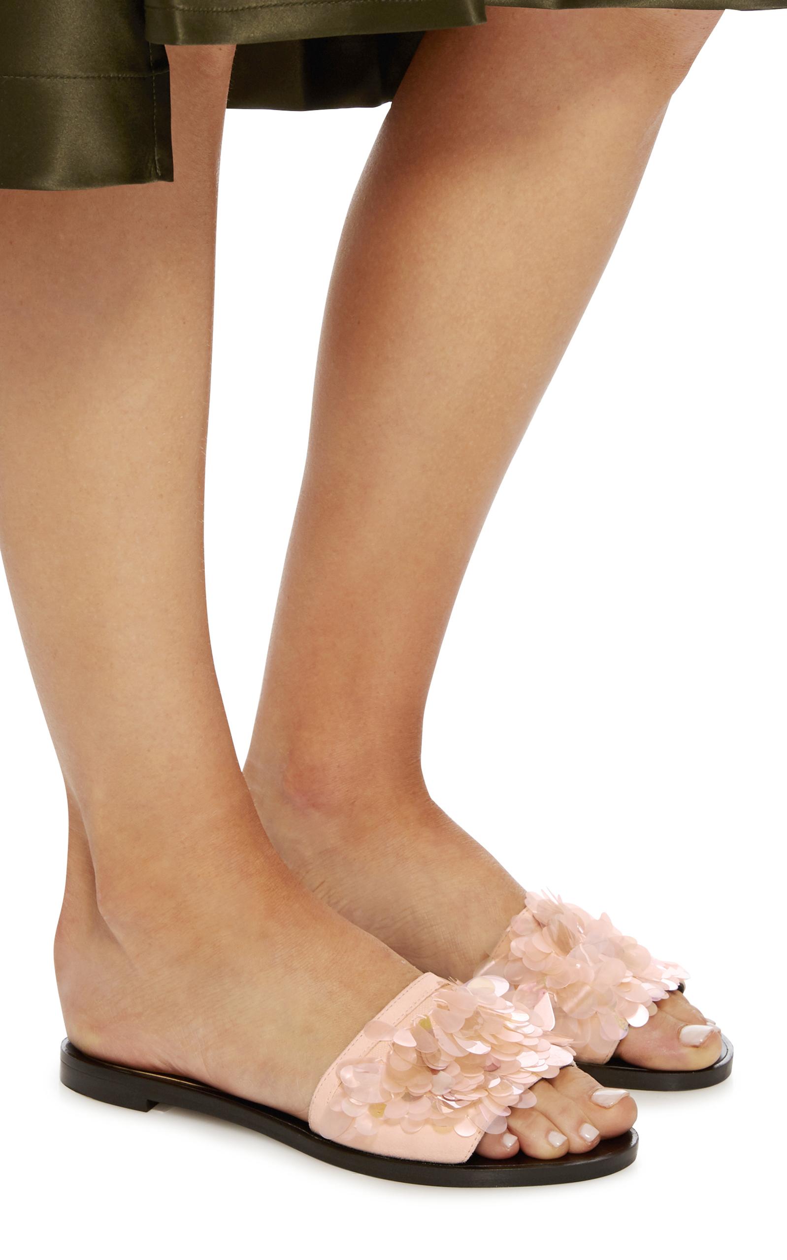 Lanvin Pailette Leather Slide Sandals GTKRM4TW