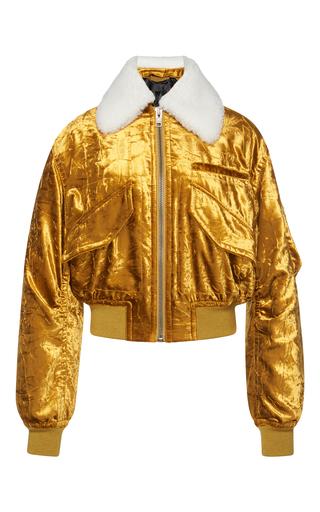 Medium haider ackermann gold shearling collar velvet bomber