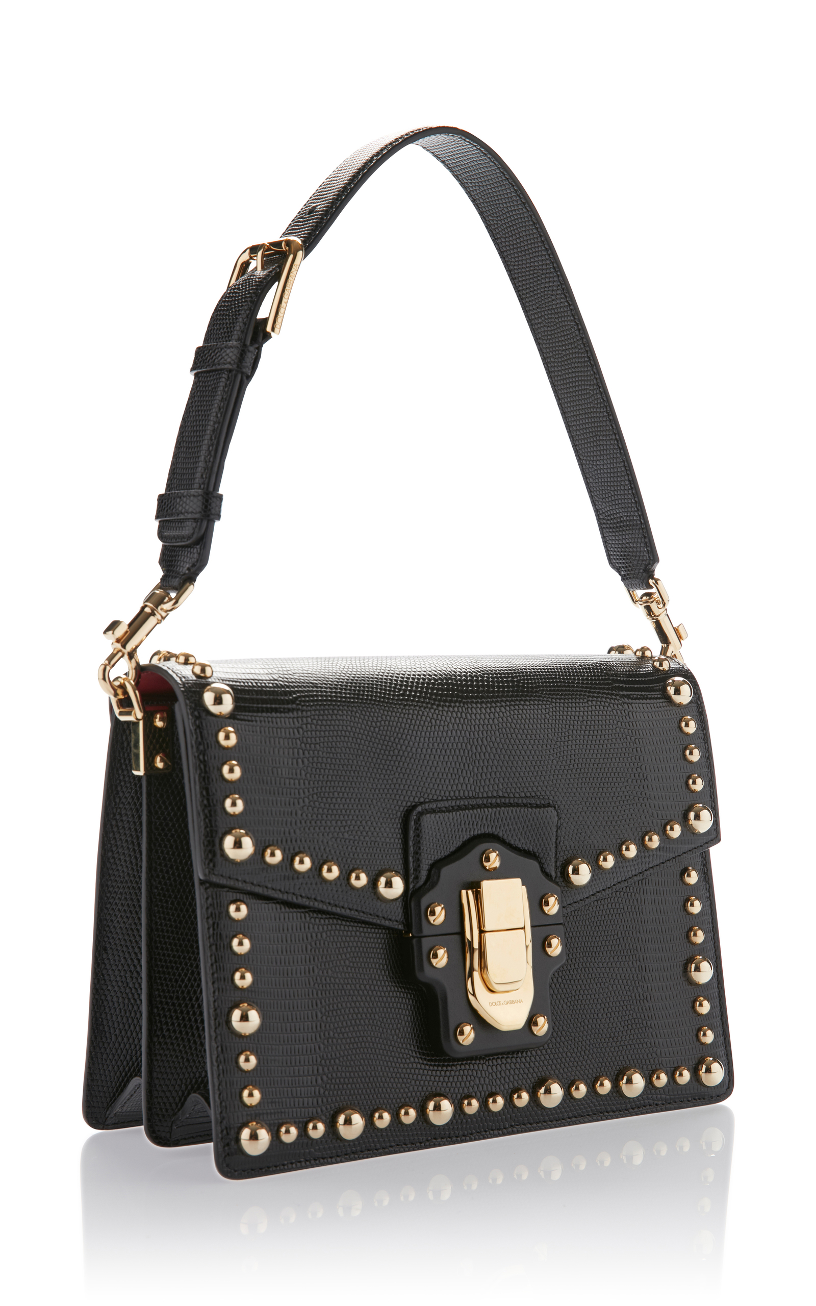 Studded Iguana Leather Top Handle Bag by Dolce  amp   d96d1c6c57fcf