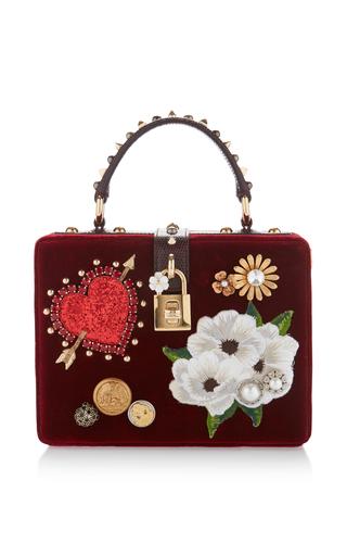 Medium dolce gabbana red embellished velvet top handle bag