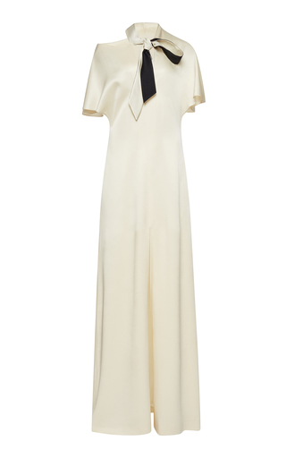 Medium lanvin ivory flutter short sleeve satin gown with neck tie