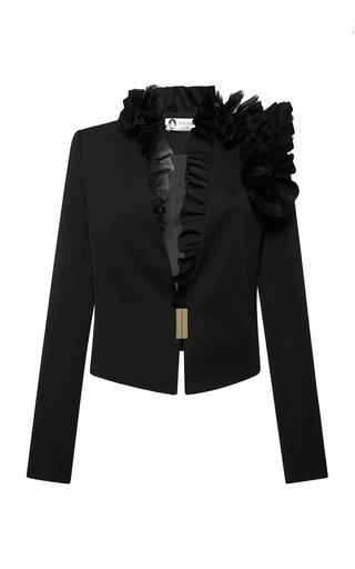 Medium lanvin black ruffle trimmed wool blazer