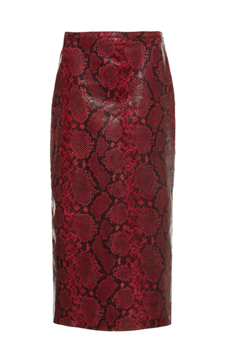 Medium rochas red printed python pencil skirt 3