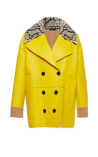 Medium rochas yellow python collar double breasted jacket