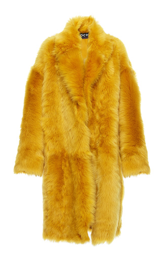 Medium rochas yellow knee length fur coat