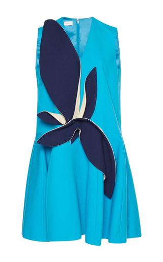 Medium delpozo blue sleeveless dress with leaves