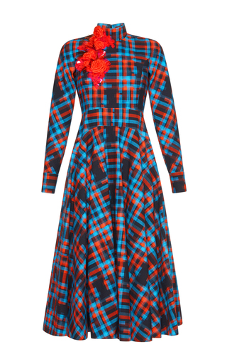 Medium delpozo print checked dress coat