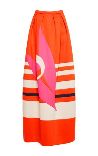 Medium delpozo red mixed media maxi skirt
